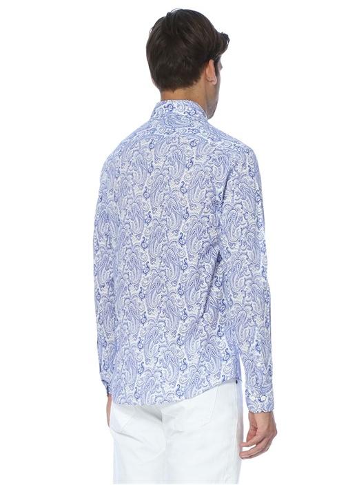 Mavi Çini Baskılı Slim Fit Gömlek