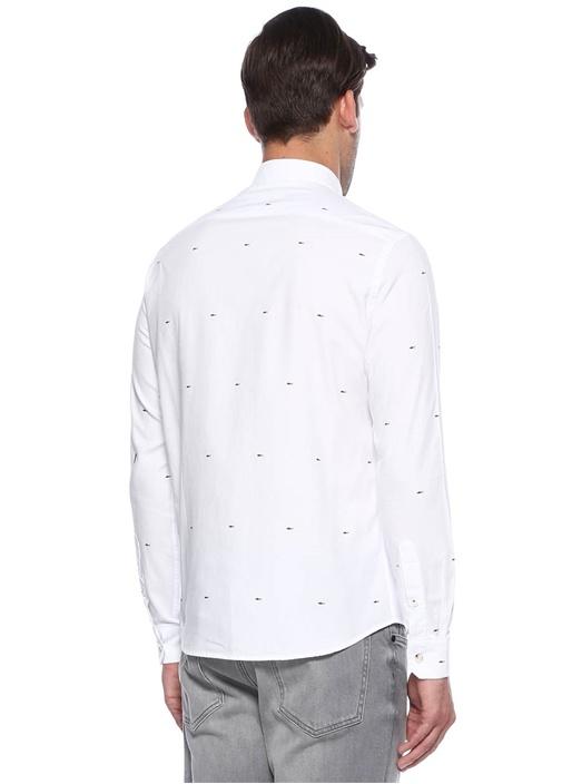 Kırık Beyaz Köpekbalığı Baskılı Slim Fit Gömlek
