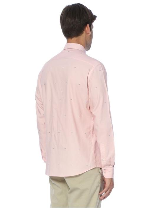 Pembe Köpekbalığı Baskılı Slim Fit Gömlek