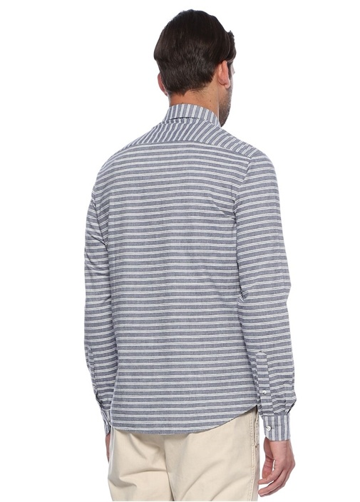 Lacivert Çizgili Oxford Slim Fit Gömlek