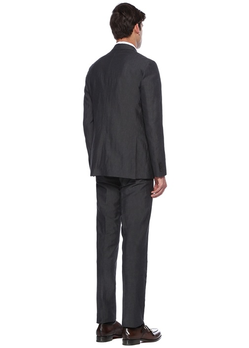Drop 7 Astarsız Gri Keten Soft Takım Elbise