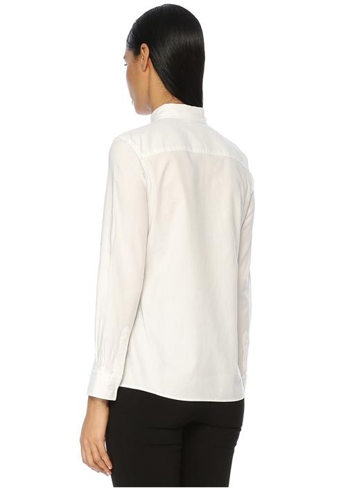 Beyaz Yıkamalı Oxford Casual Fit Gömlek