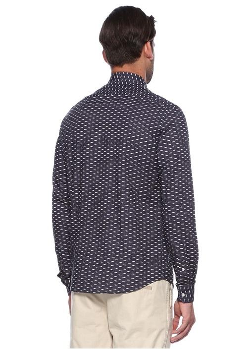 Lacivert Balık Desenli Slim Fit Gömlek