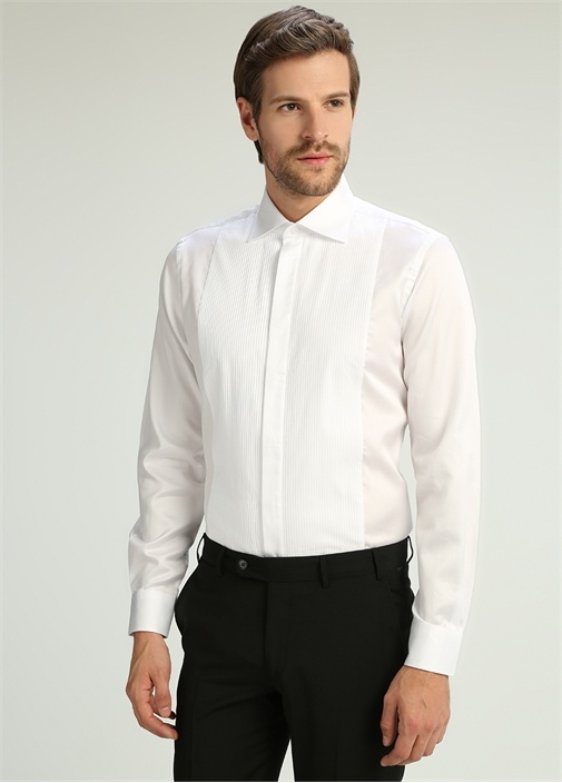 Custom Fit Beyaz İngiliz Yaka Pliseli Gömlek
