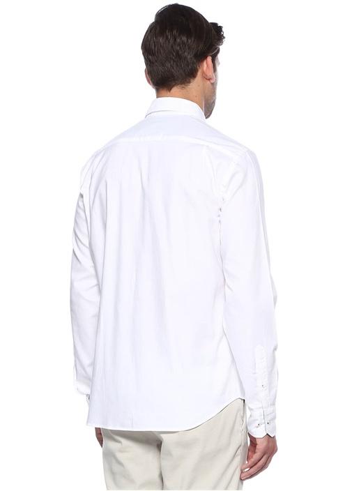 Beyaz Yıkamalı Comfort Fit Oxford Gömlek