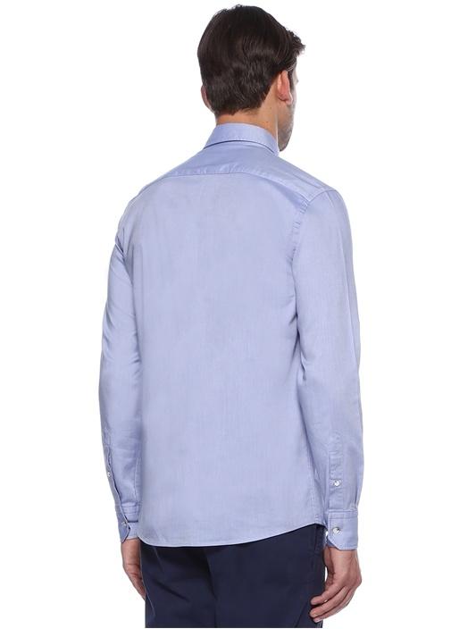 Mavi Yıkamalı Slim Fit Oxford Gömlek