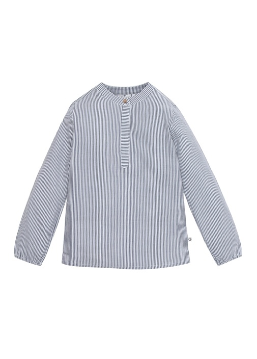 Woven Mavi Beyaz Çizgili Erkek Çocuk Gömlek
