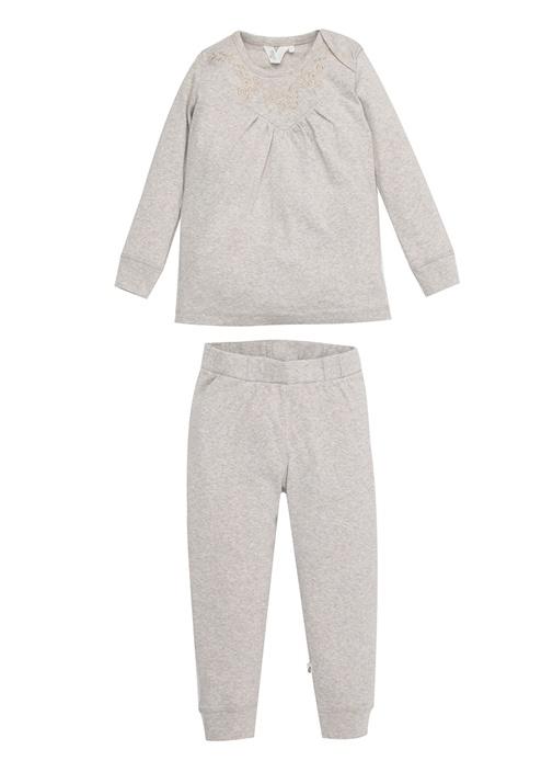 Gri Melanj Nakışlı Kız Çocuk Pijama Takımı