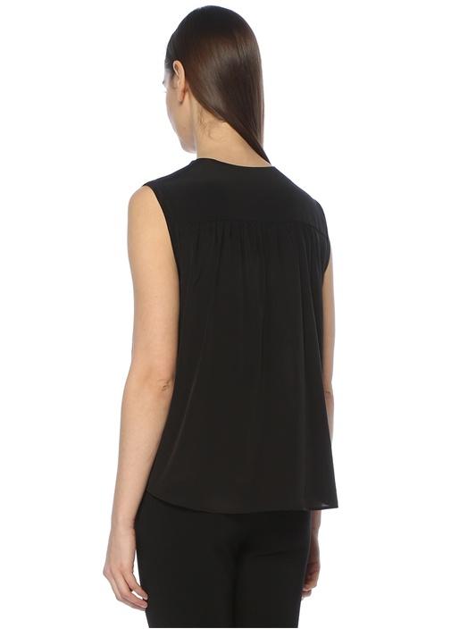 Siyah Düşük Kol V Yaka İpek Gömlek