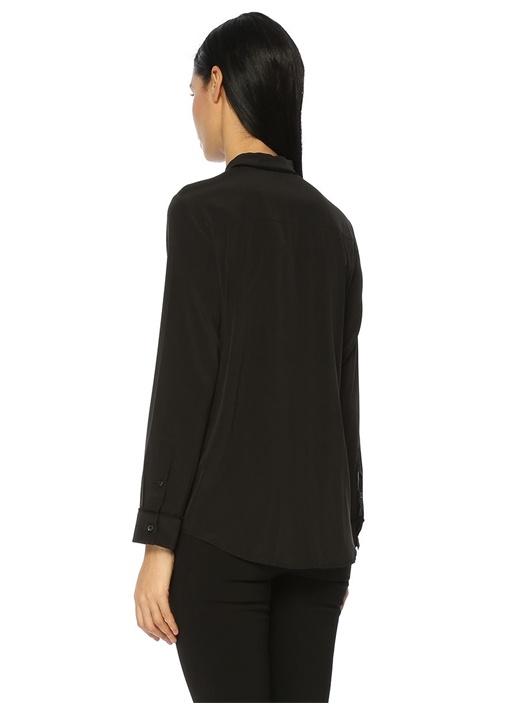 Siyah Püskül Biyeli İpek Gömlek
