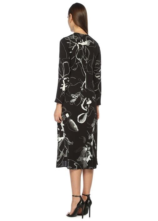 Siyah Gül Desenli Krep Midi Elbise