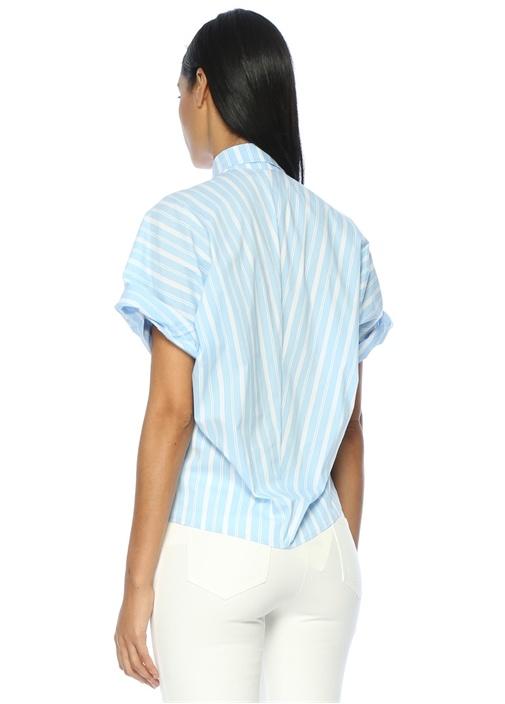 Mavi Çizgili Düşük Kol Gömlek