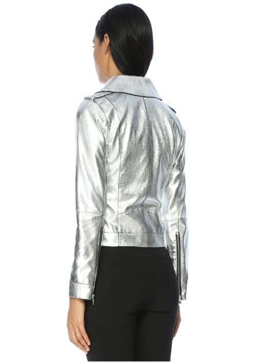 Fermuarlı Zımba Detaylı Gümüş Deri Ceket
