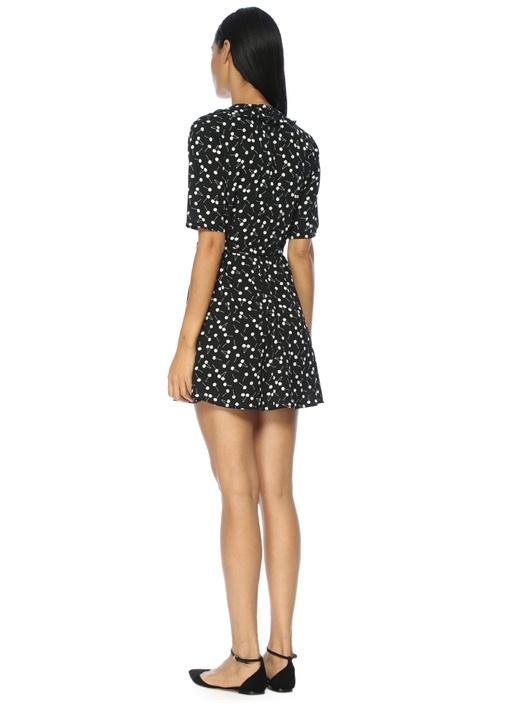 Kruvaze Kapatmalı Kiraz Desenli Siyah Mini Elbise