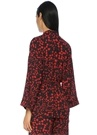 Lacivert Kiraz Baskılı Kuşaklı Kimono Bluz