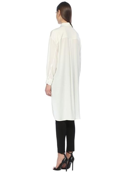 Beyaz Arkası Uzun Düşük Kollu İpek Gömlek