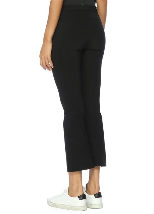 Casual Yüksek Bel Kısa Paça Siyah Pantolon