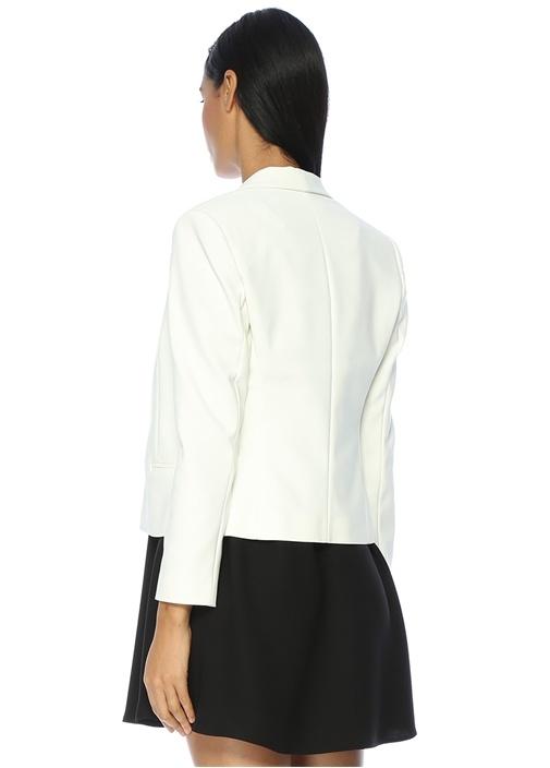 Şal Yaka Beyaz Kısa Ceket