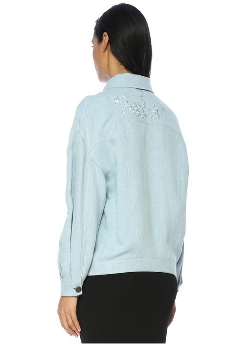 Klasik Yaka Sırtı Çiçek Nakışlı Mavi Ceket