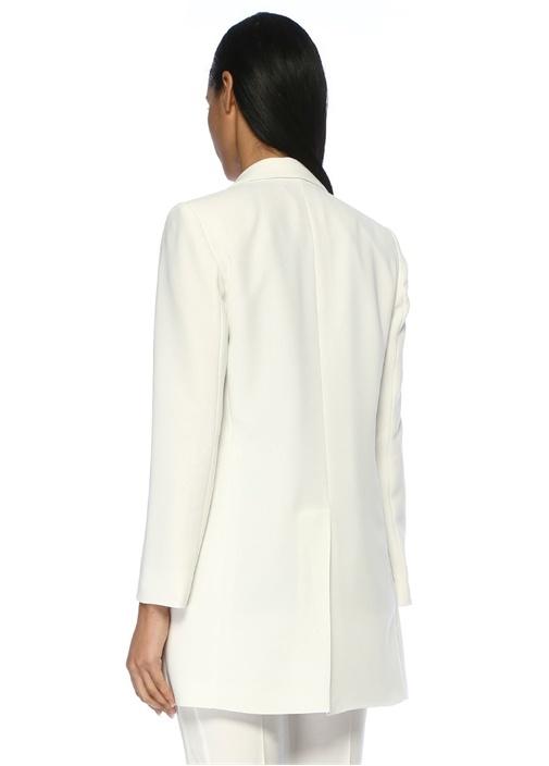 Kelebek Yaka Beyaz Uzun Krep Ceket