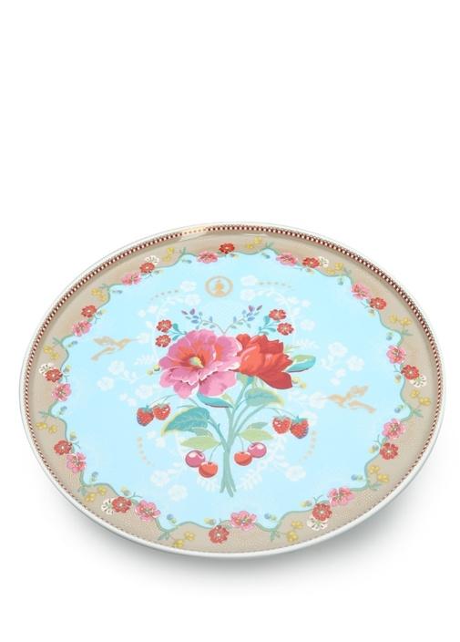Floral Pip Güllü Mavi Kek Standı