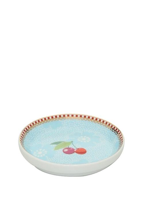 Floral Pip Kirazlı Mavi Çay Tabağı