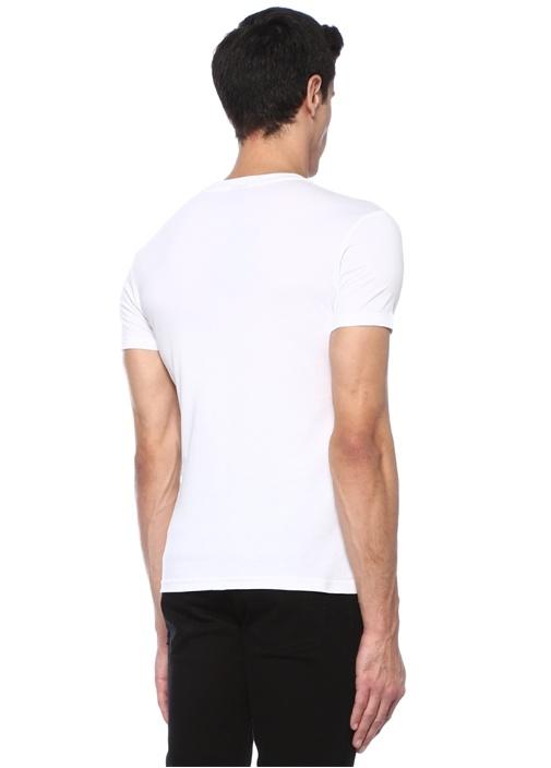 Speed Beyaz Bisiklet Yaka Jakarlı BasicT-shirt