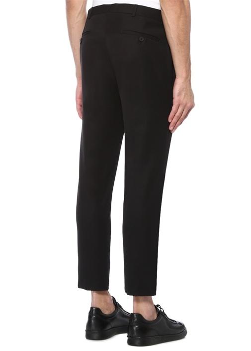 Siyah Paçaları Fermuarlı Cropped Pantolon