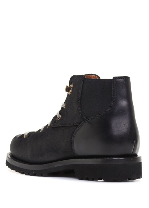 Siyah Süet Detaylı Erkek Deri Ayakkabı