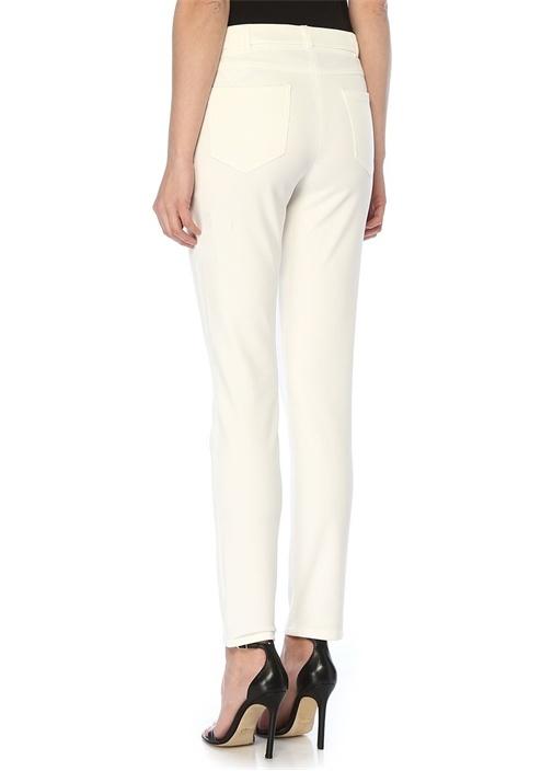 Beyaz Yüksek Bel Streç Pantolon