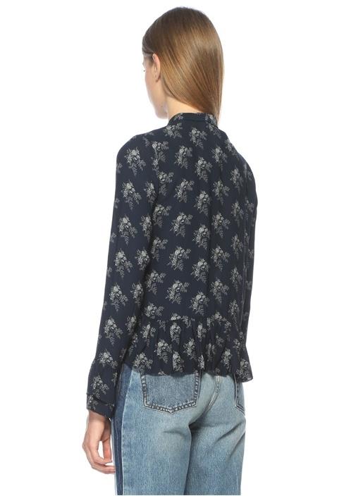 Petrol Yakası Fularlı Çiçekli Ucu Volanlı Bluz