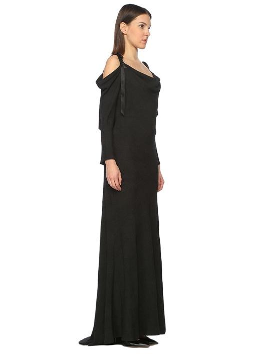 Omuz Dekolteli Siyah Maxi Elbise