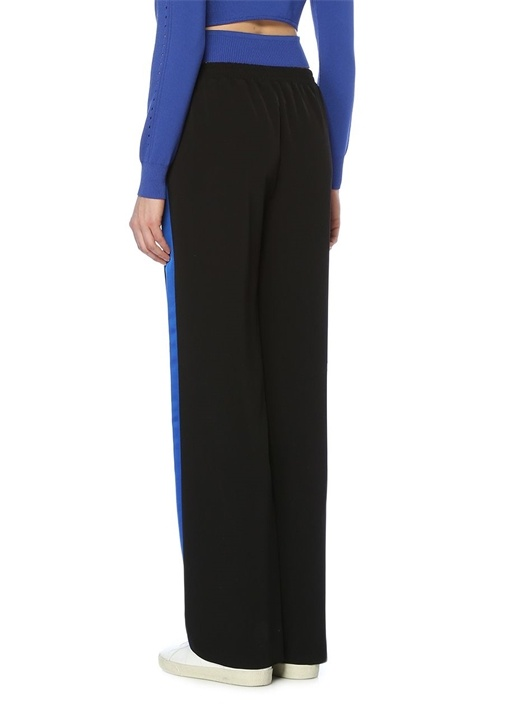 Siyah Mavi Şeritli Boru Paça Pantolon
