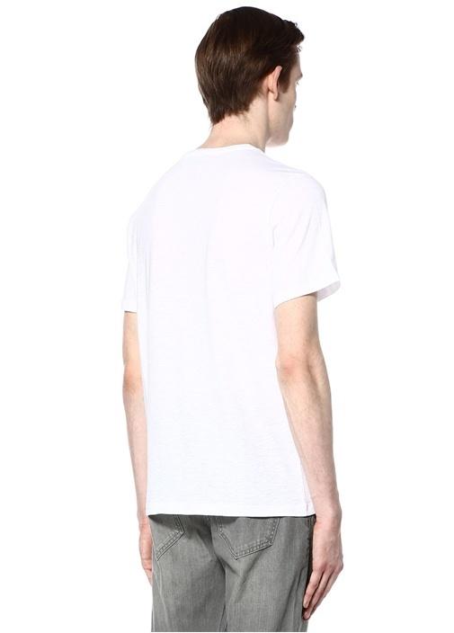 Beyaz Bisiklet Yaka Basic Tshirt