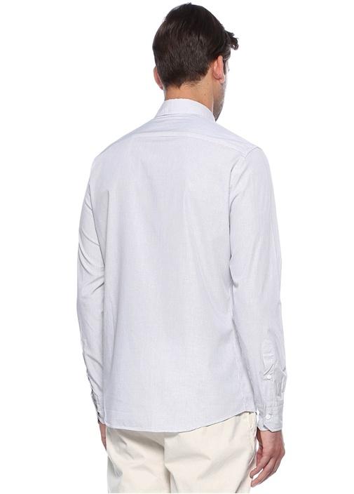 Beyaz Ekoseli Slim Fit Gömlek