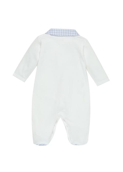 Beyaz Mavi Kareli Erkek Bebek Tulum