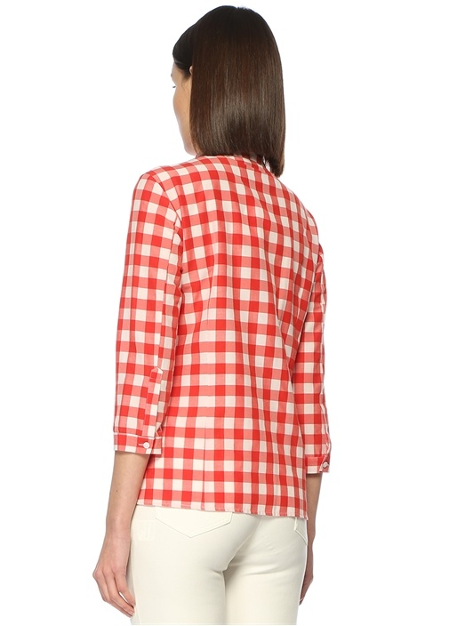 Kırmızı İngiliz Yaka Kareli Poplin Gömlek
