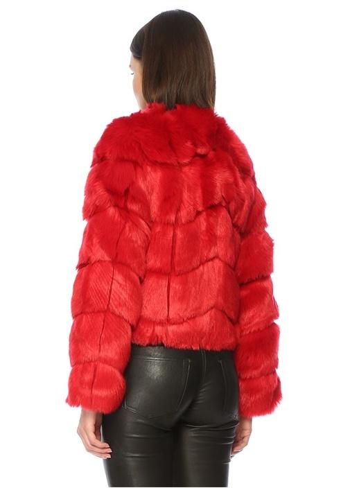 Kırmızı Bisiklet Yaka Peluş Ceket