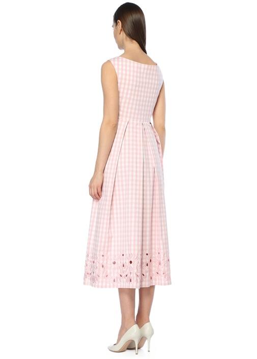 Pembe Ekoseli Nakış Detaylı Midi Elbise