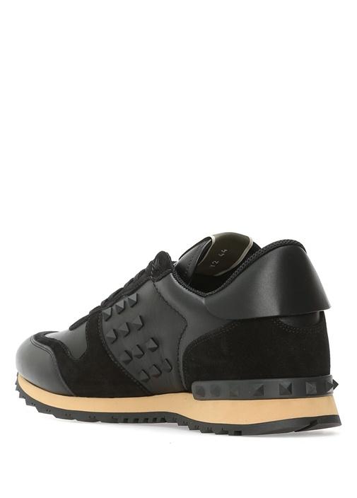 Rockstud Siyah Erkek Deri Sneaker