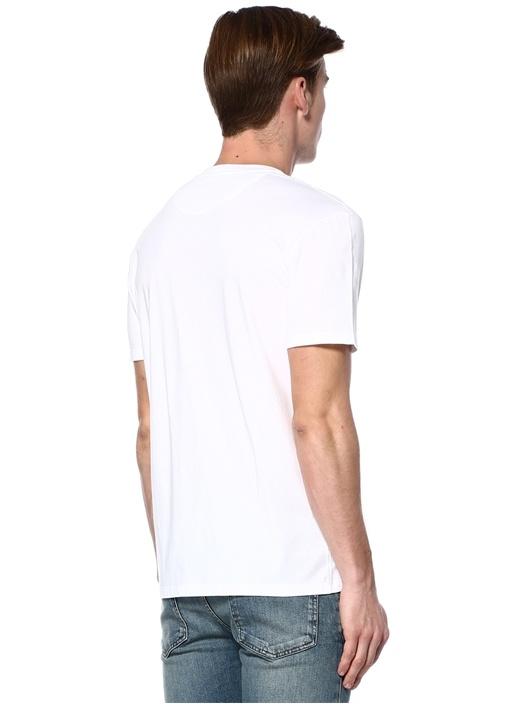 Beyaz Bisiklet Yaka Uzay Baskılı Basic T-shirt