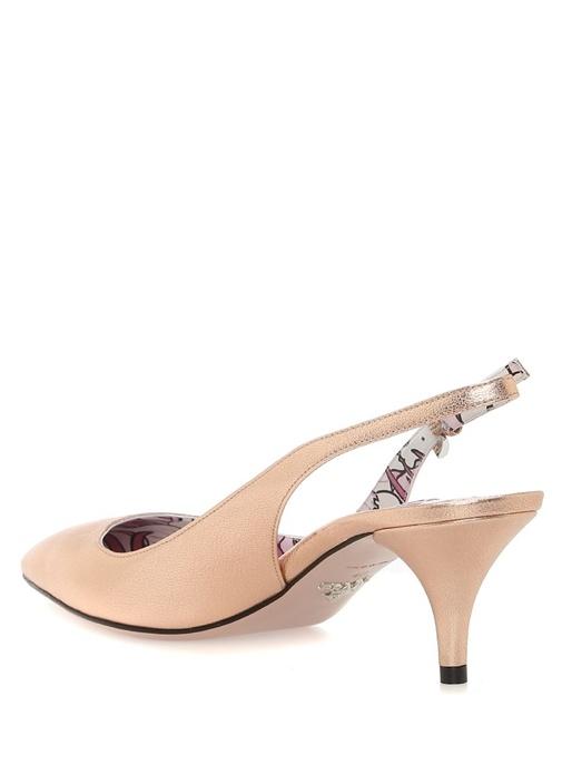 Rose Gold Kemerli Kadın Deri Topuklu Ayakkabı
