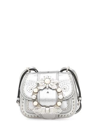 Miu Kadın Mandras Silver aş Detaylı Deri Çanta Gri Ürün Resmi