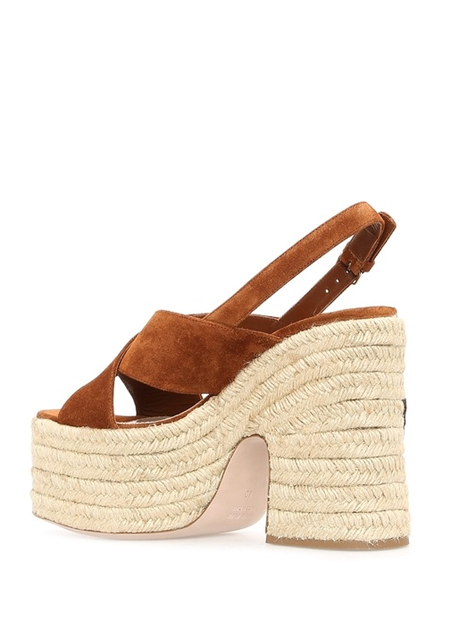 Kahverengi Patchli Kadın Deri Sandalet