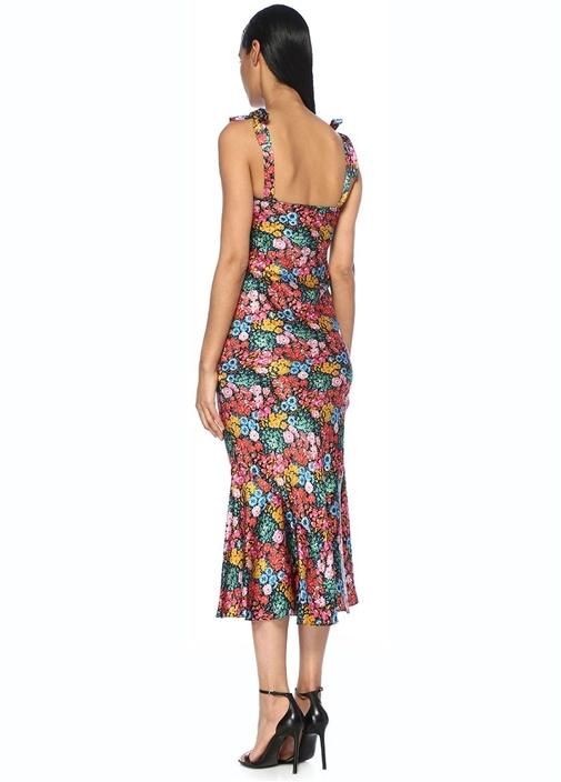 Omzu Bağcıklı Çiçekli Maksi Saten İpek Elbise