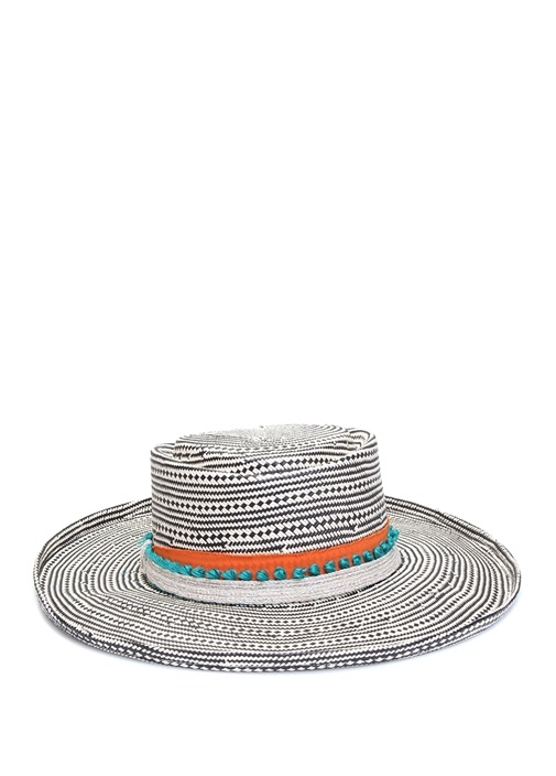 Siyah Beyaz Mikro Desenli Kadın Şapka