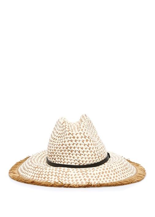 Bej Mikro Desenli Bantlı Kadın Şapka