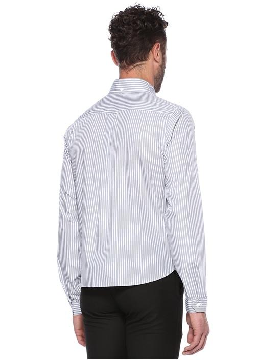 Boxy Fit Grafik Baskılı Çizgili Gömlek