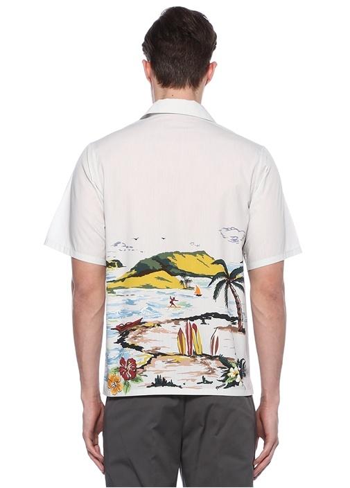 Plaj Baskılı Beyaz Gömlek