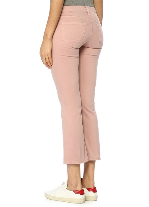 Pembe Normal Bel Crop Jean Pantolon